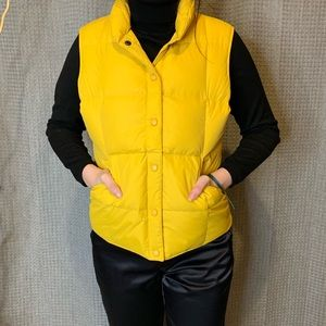 Lands End Yellow Goose Down Fill Snap Front Vest